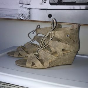 Torrid size 12 natural nude lace up wedges